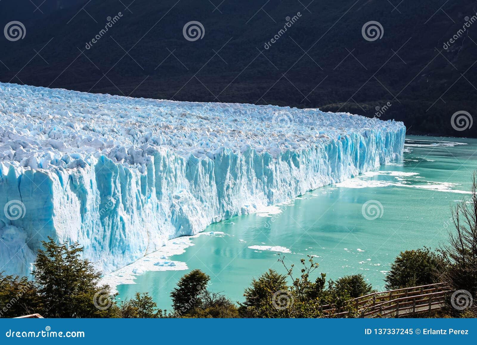 Amazing high view of the Glacier Perito Moreno National Park in Patagonia, Argentina