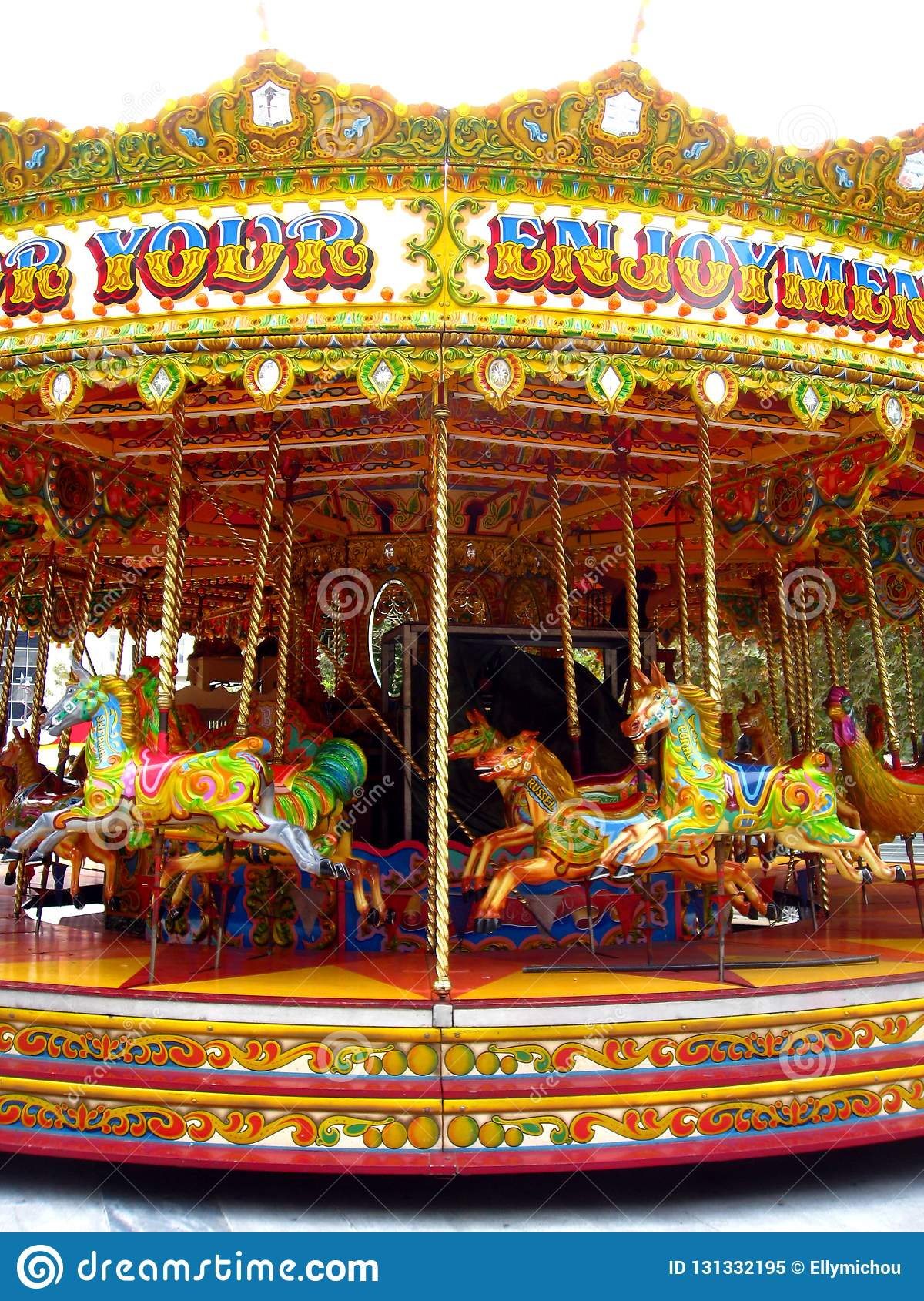Amazing Horse Carousel In Athens Stock Image - Image of playing