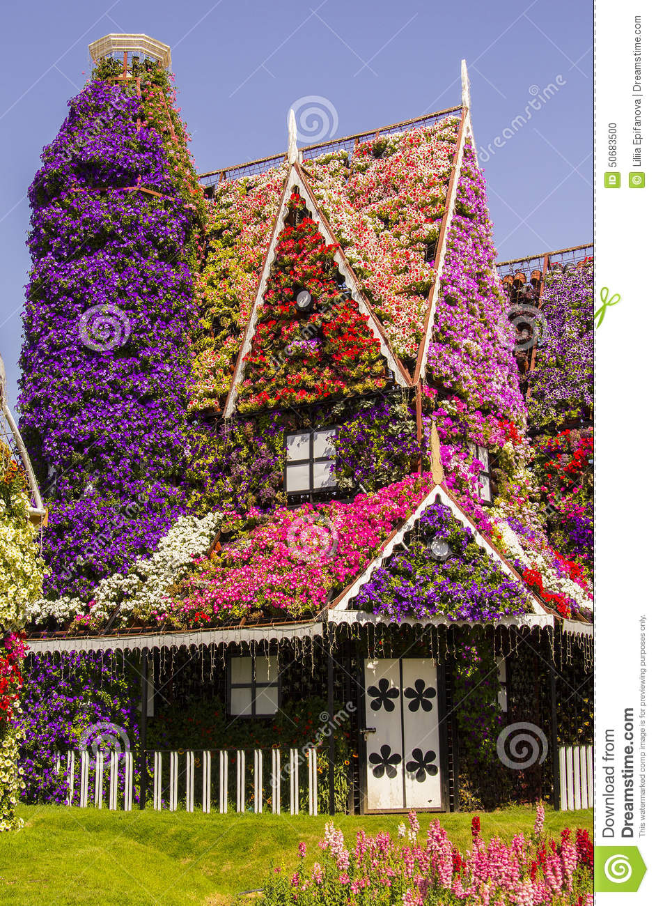 amazing house of flowers in the miracle garden park stock photo
