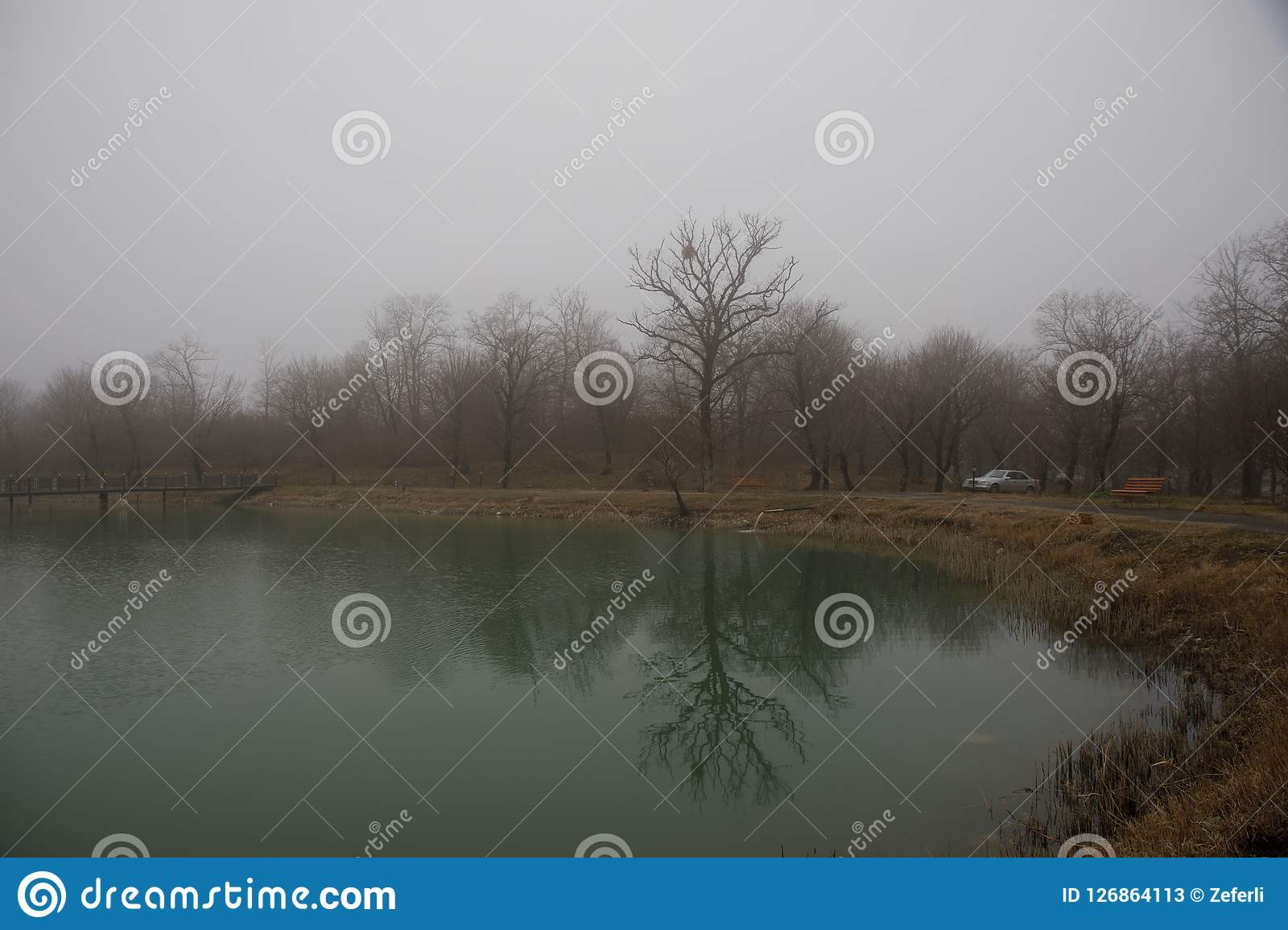 Amazing landscape of bridge reflect on surface water of lake, fog evaporate from pond make romantic scene or Beautiful bridge on l. Ake with trees at fog. Iron Stock Photos