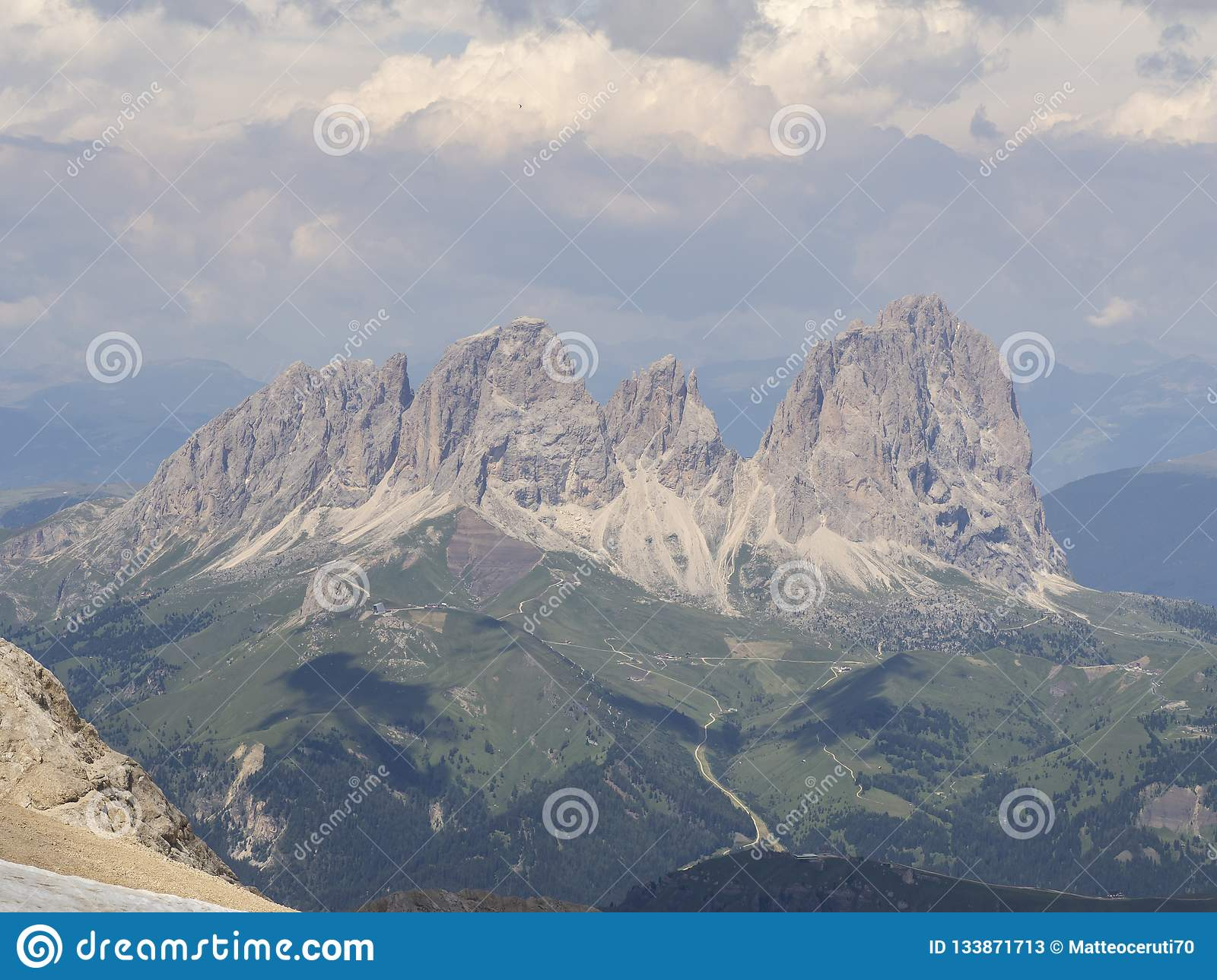 Amazing landscape at the Dolomites in Italy. View at Langkofel Sassolungo Group from Marmolada summit