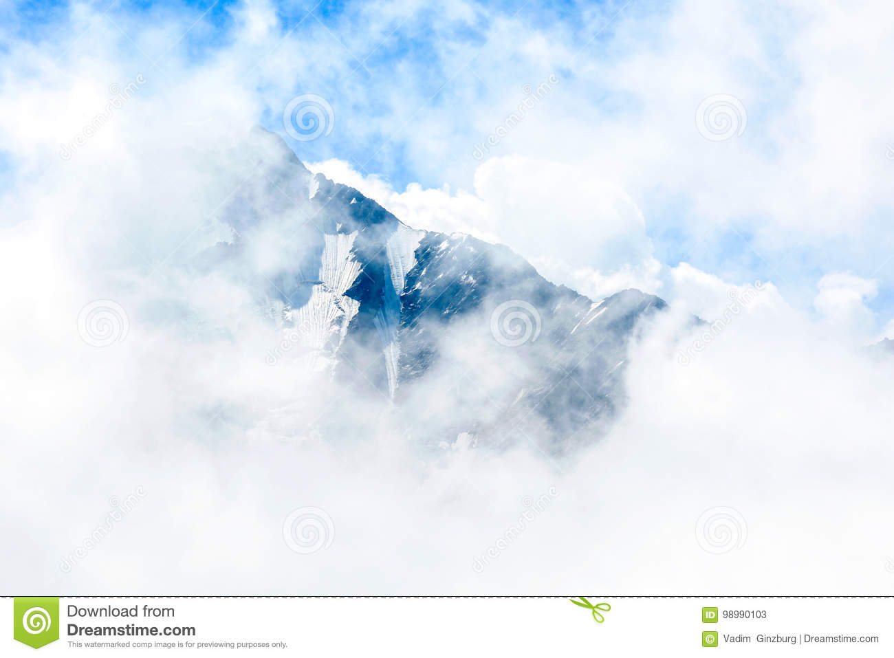 Amazing landscape of rocky mountains and blue sky, Caucasus, Russia