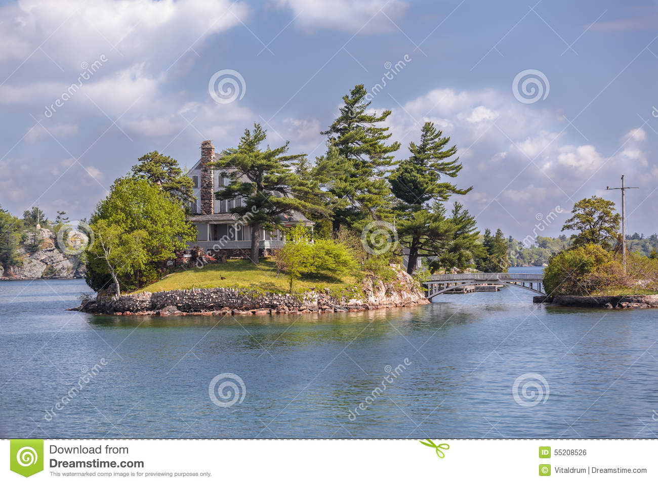 Amazing Landscape View Of Little Island With Small House ...