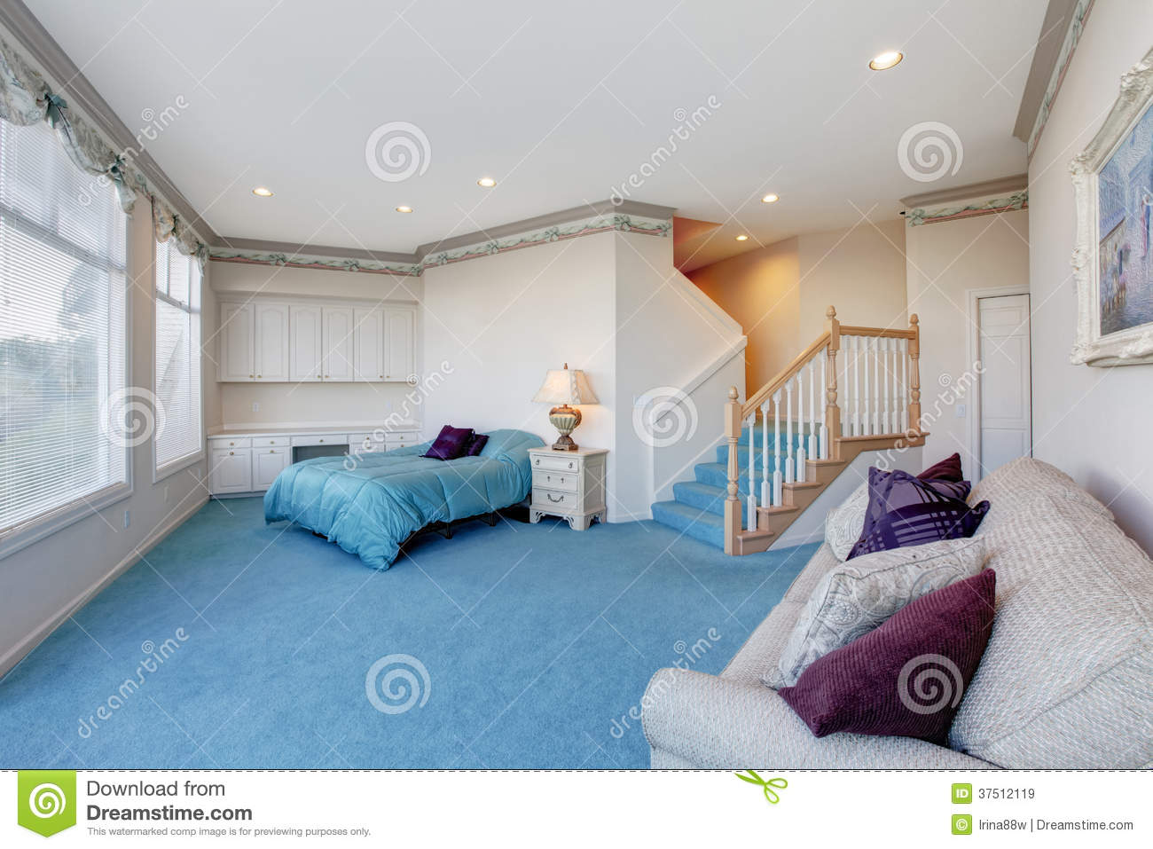 Interesting Floor Plans Amazing Light Blue And White Bedroom With Glass Wall Stock