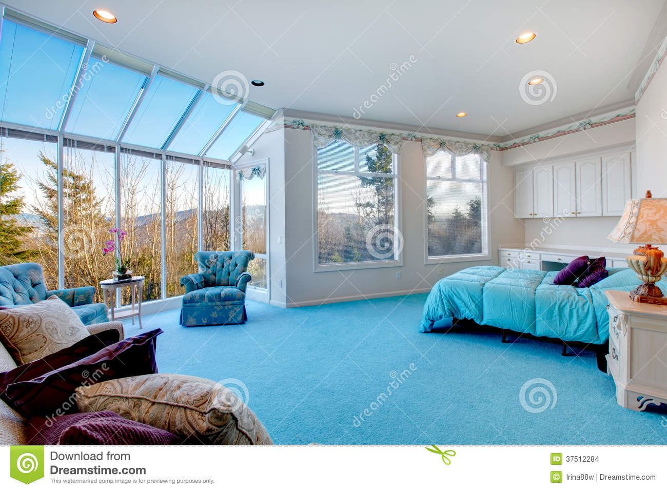 Amazing Light Blue And White Bedroom With Glass Wall Stock Images ...