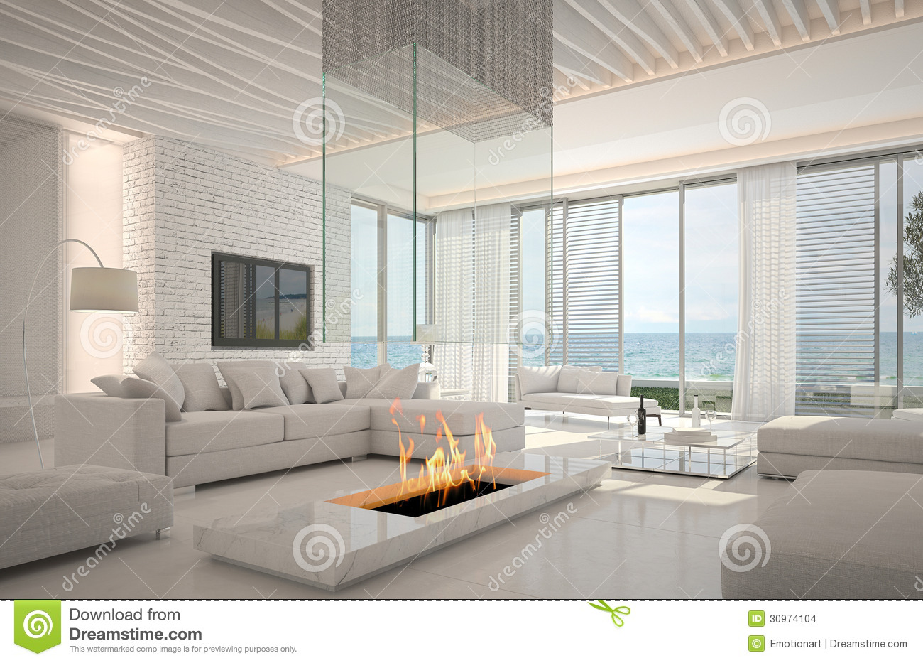 Amazing Loft Living Room Interior With Seascape View Stock