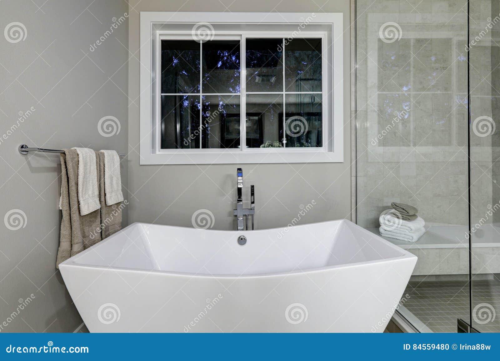 Amazing Master Bathroom With Freestanding Tub Stock Photo - Image of ...