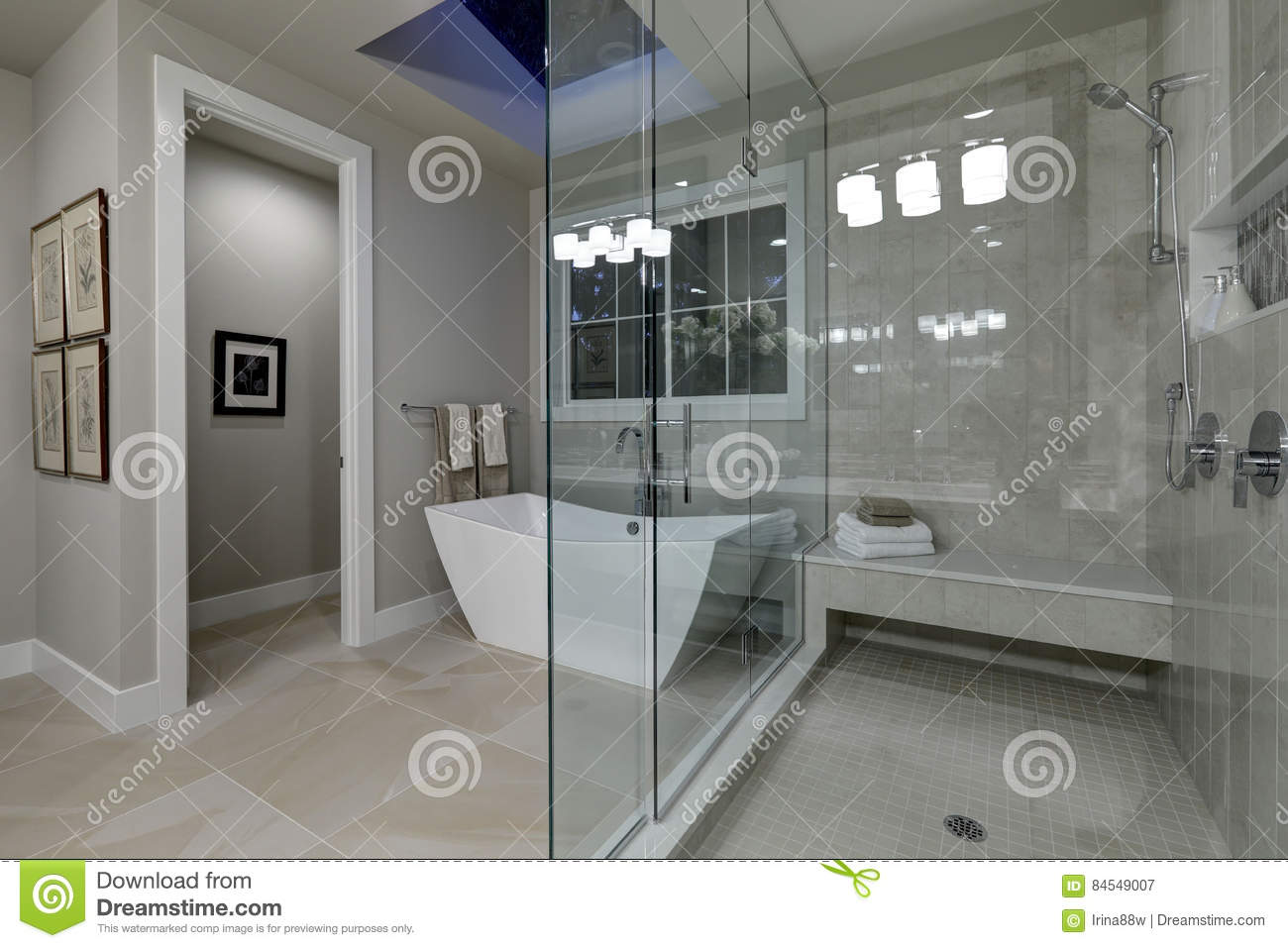 Good Amazing Master Bathroom With Large Glass Walk In Shower