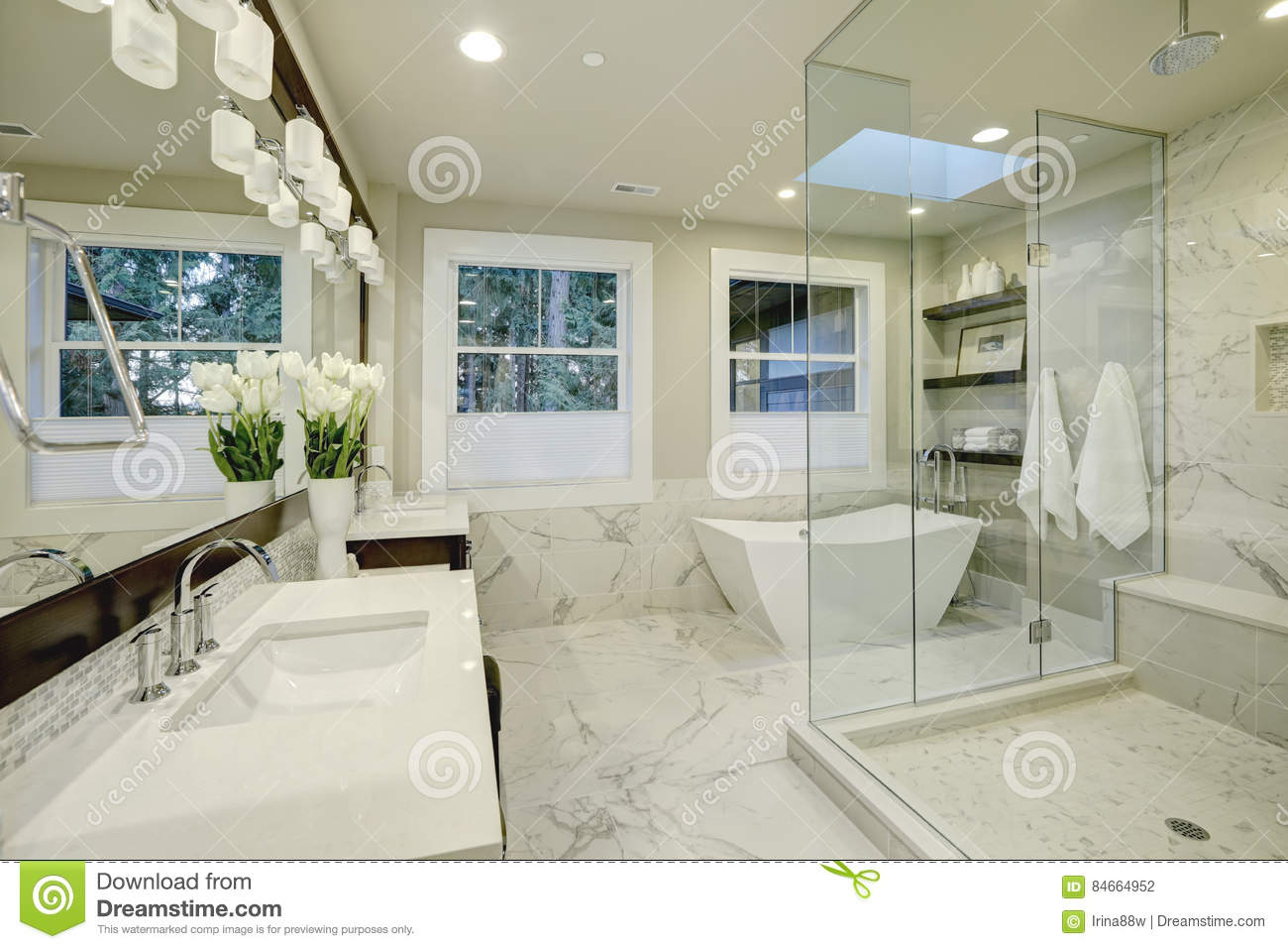 Amazing Master Bathroom With Large Glass Walk-in Shower Stock Photo ...
