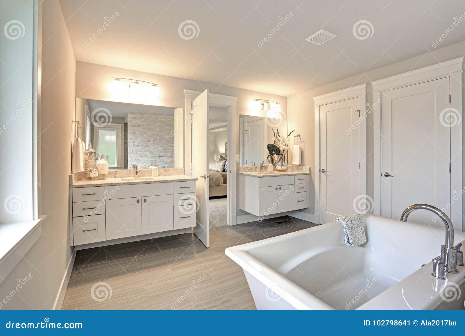 Amazing Master Bathroom With Two Bathroom Vanities Stock Image Image Of Architect Apartment 102798641