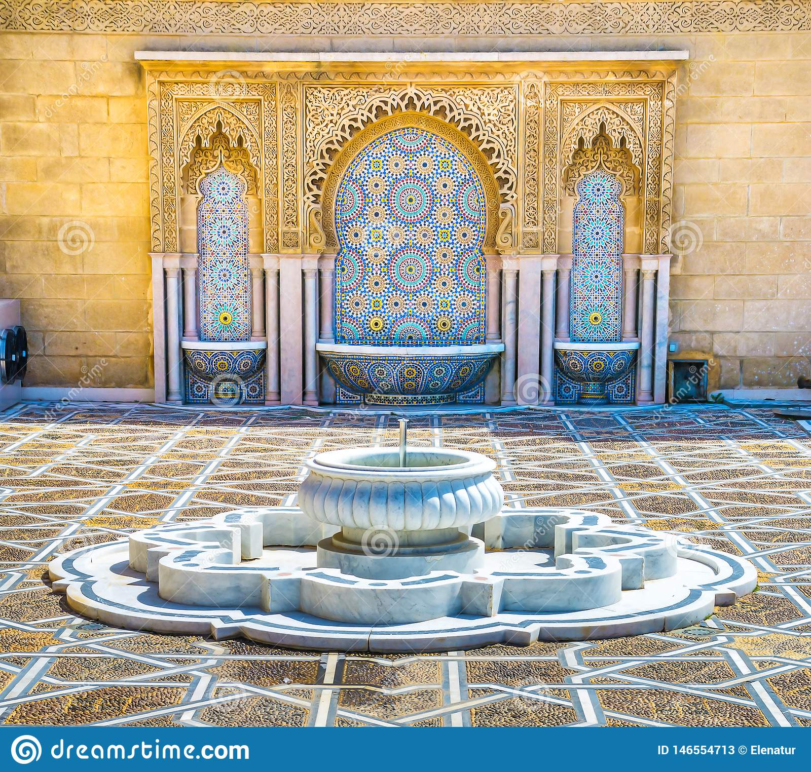 Moroccan 8x10 FT Backdrop Photographers,Typical Moroccan Tiled Fountain in The City of Rabat Near Hassan Tower Background for Child Baby Shower Photo Vinyl Studio Prop Photobooth Photoshoot
