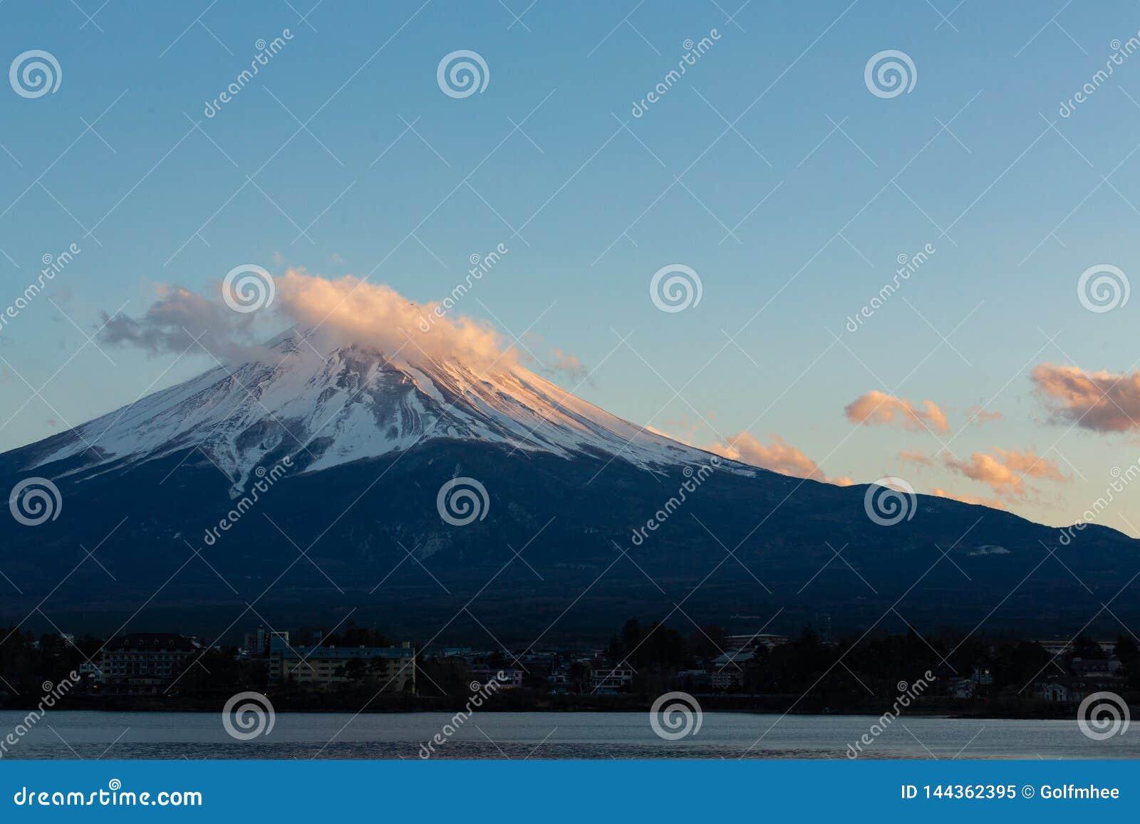 Amazing Mt Fuji Kawaguchiko lake, Japan landscape in sunset day time in blue sky background concept for fujisan japanese nature