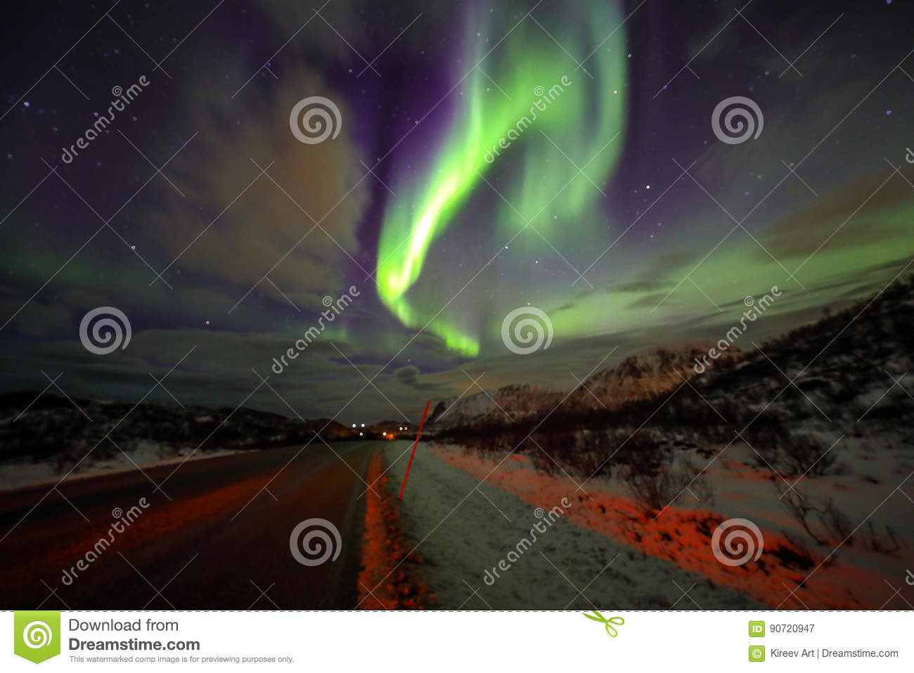 Amazing multicolored Aurora Borealis also know as Northern Lights in the night sky over Lofoten landscape, Norway, Scandinavia. Bl