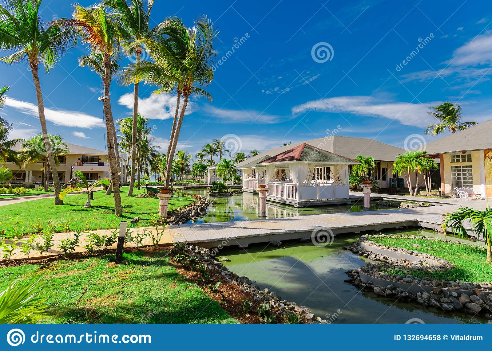 Amazing Natural Landscape View Of Resort Grounds And Restaurant Buildings In Tropical Garden Surrounded By Water On Sunny Gorgeou Editorial Stock Photo Image Of Relax Landscape 132694658