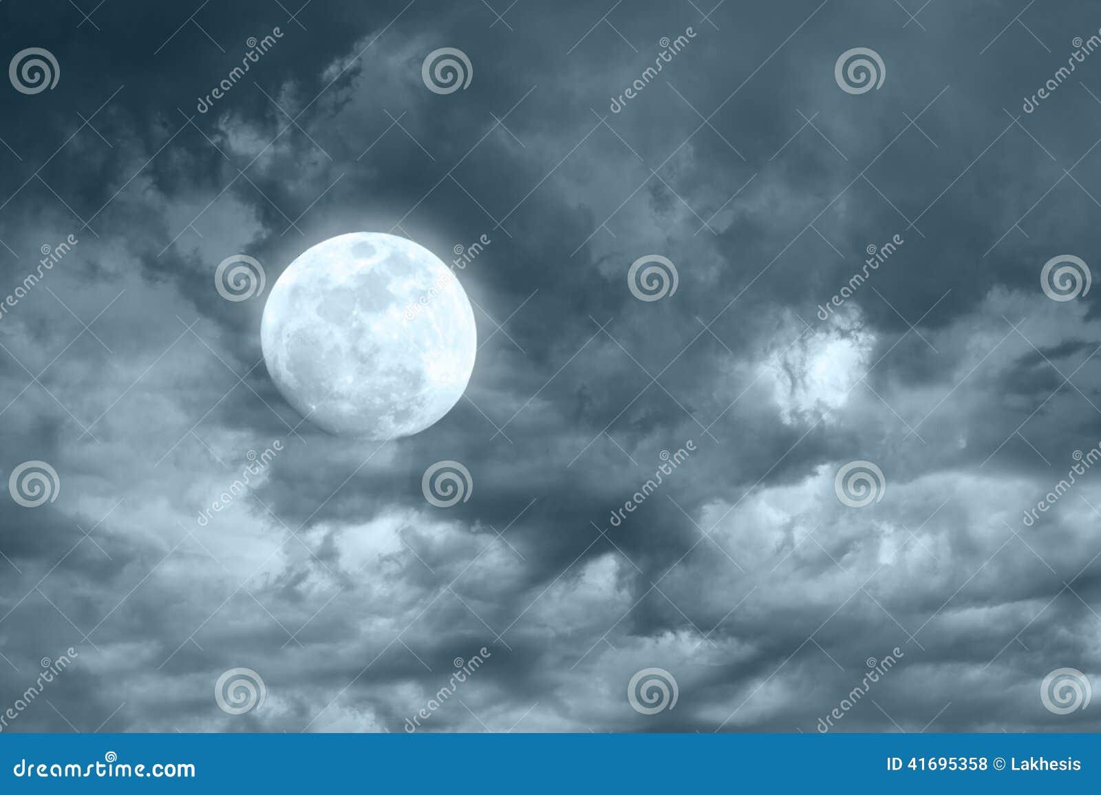 Amazing night sky with shining full moon