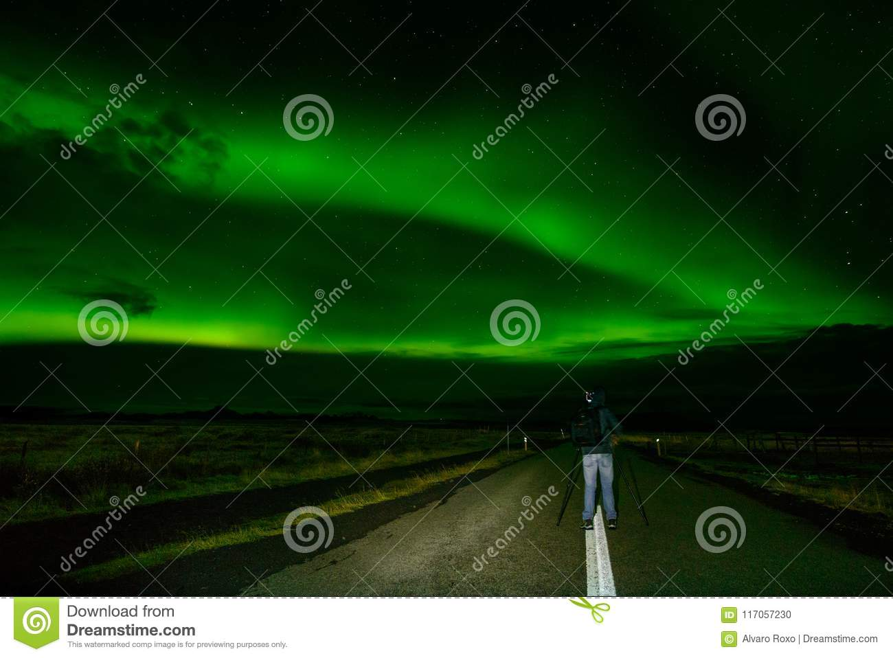 Amazing Northern Lights Over The Iceland Sky Stock Photo Image Of