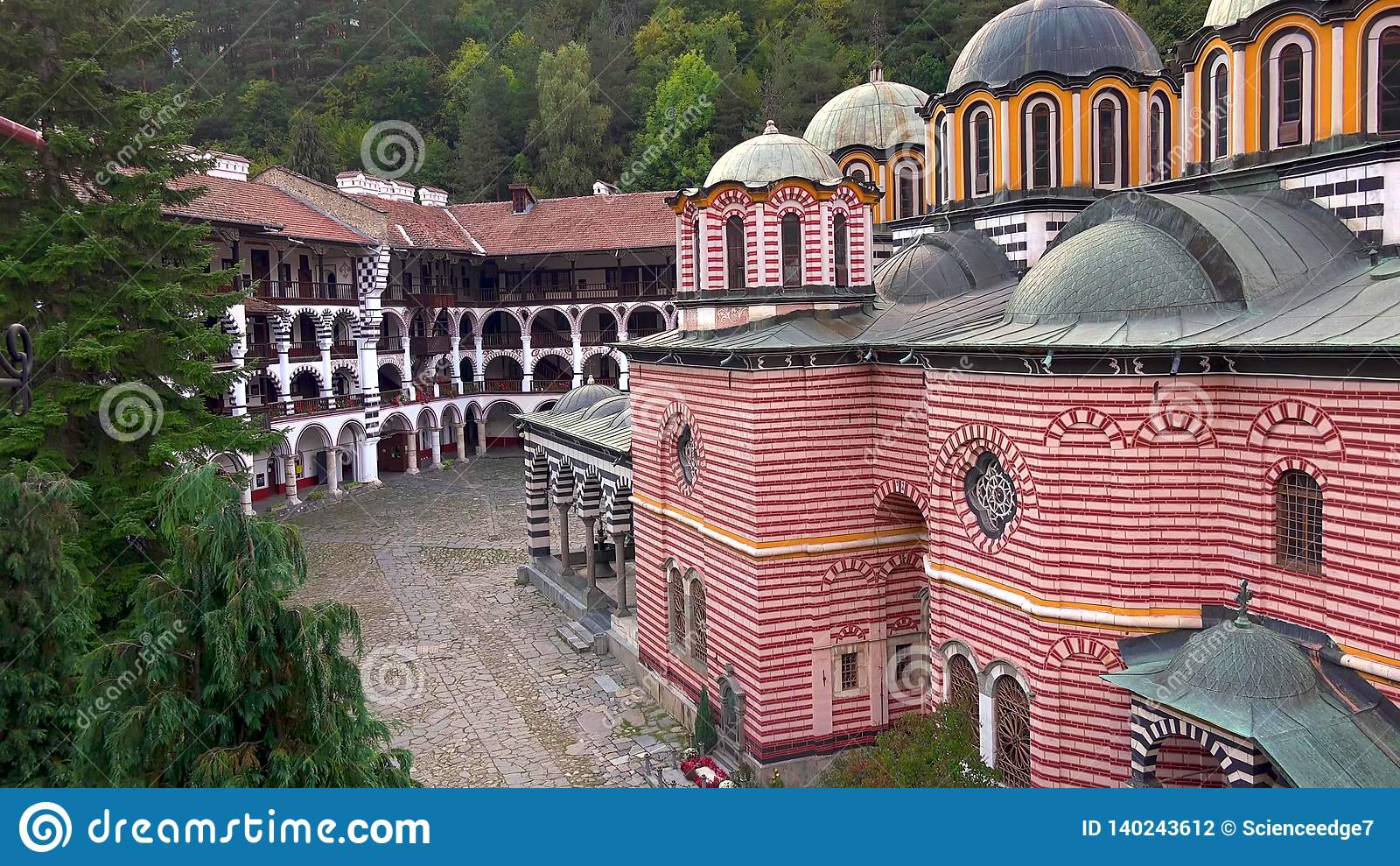 Amazing Panorama of Green hills, Rila lakes and Rila monastery, Bulgaria