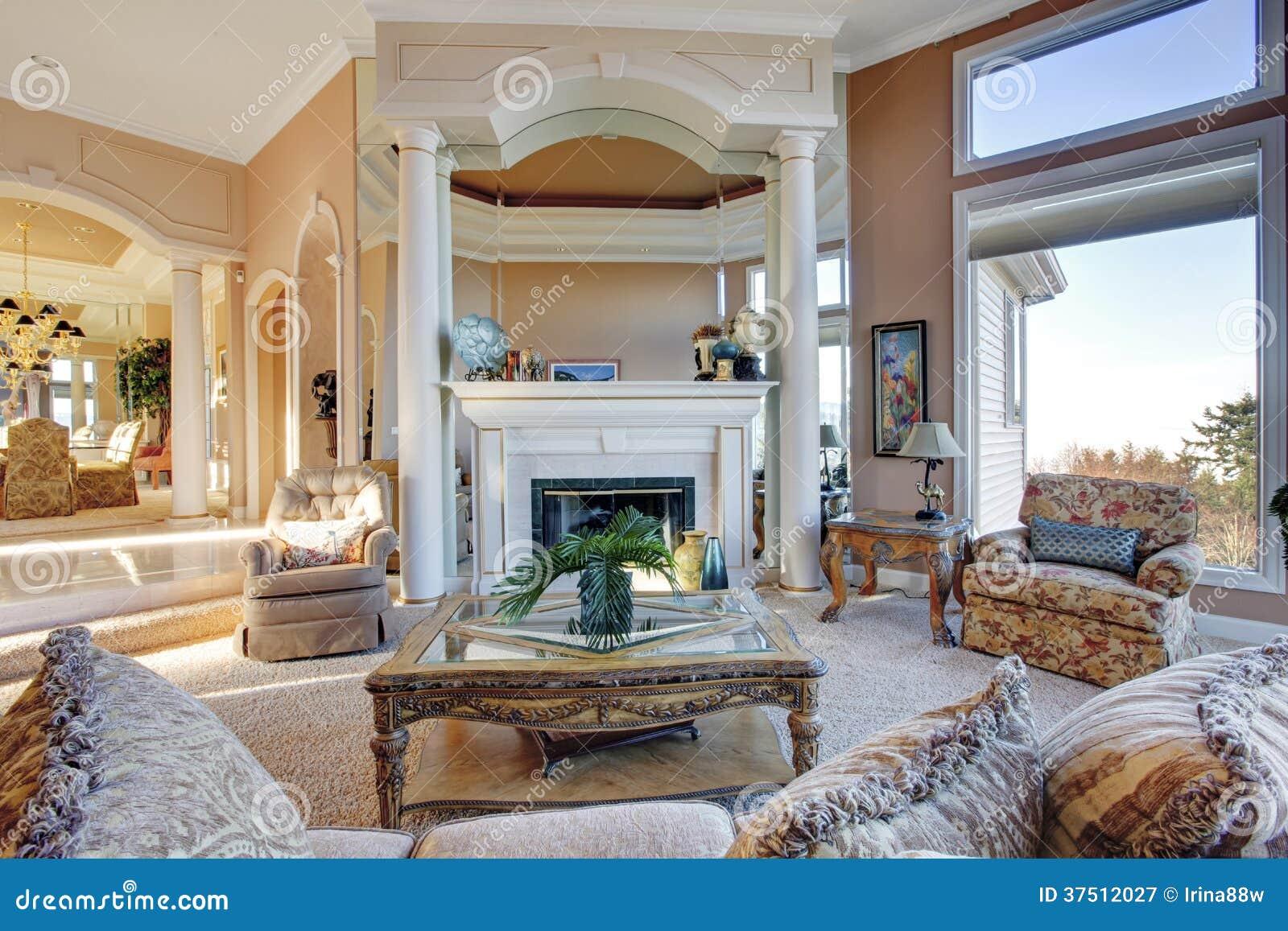 Rich Furniture Interior Design ~ Amazing rich interior with antique furniture royalty free