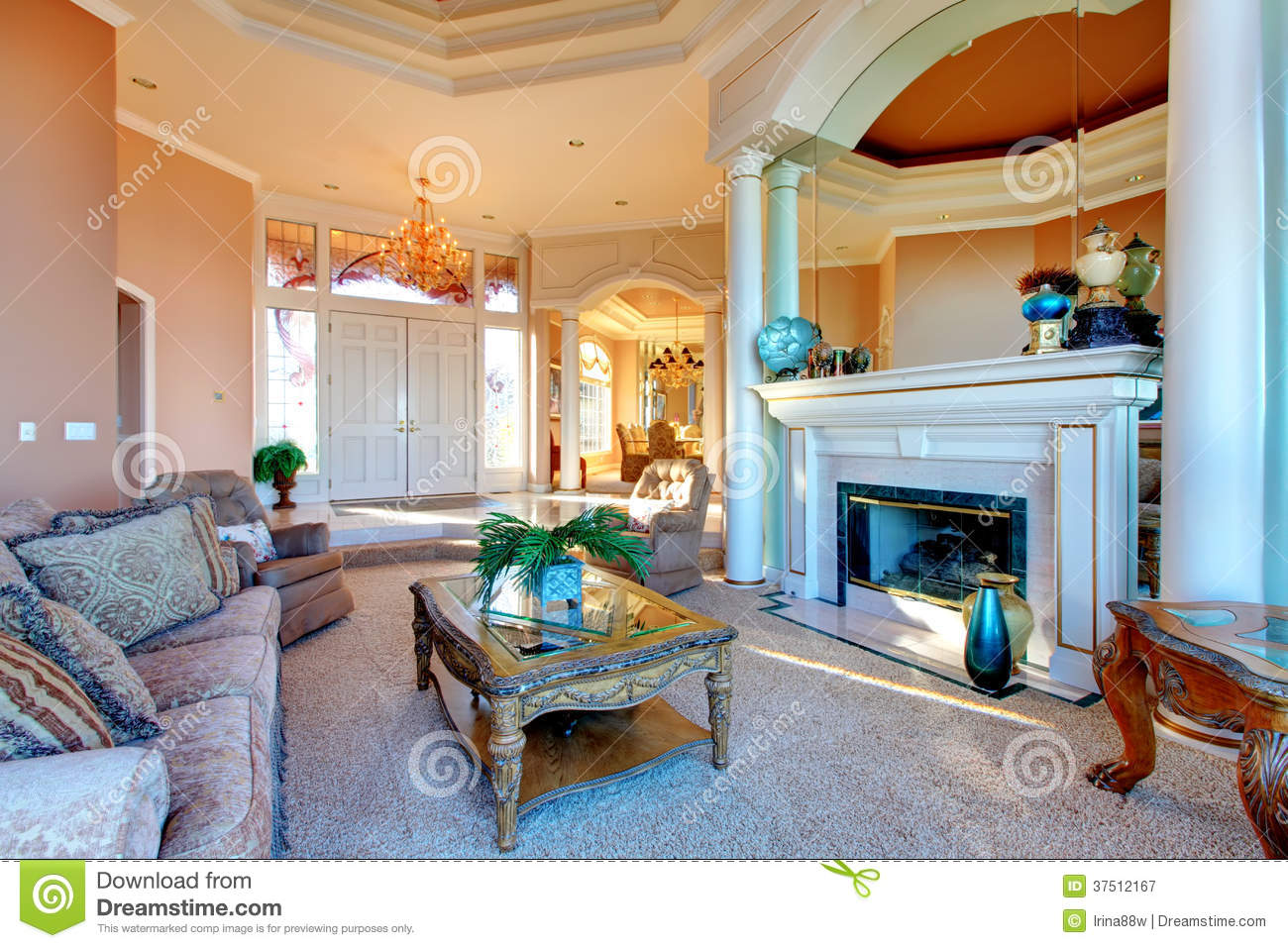 Rich Living Room : Amazing Rich Interior With Antique Furniture Royalty Free ...