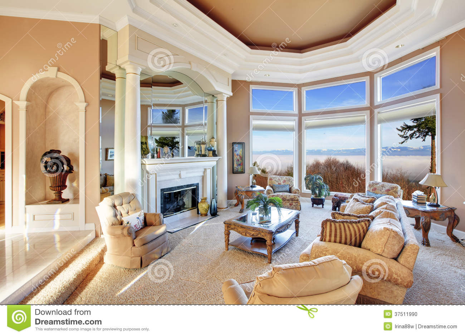 Rich Furniture Interior Design ~ Amazing rich interior with stunning window view on
