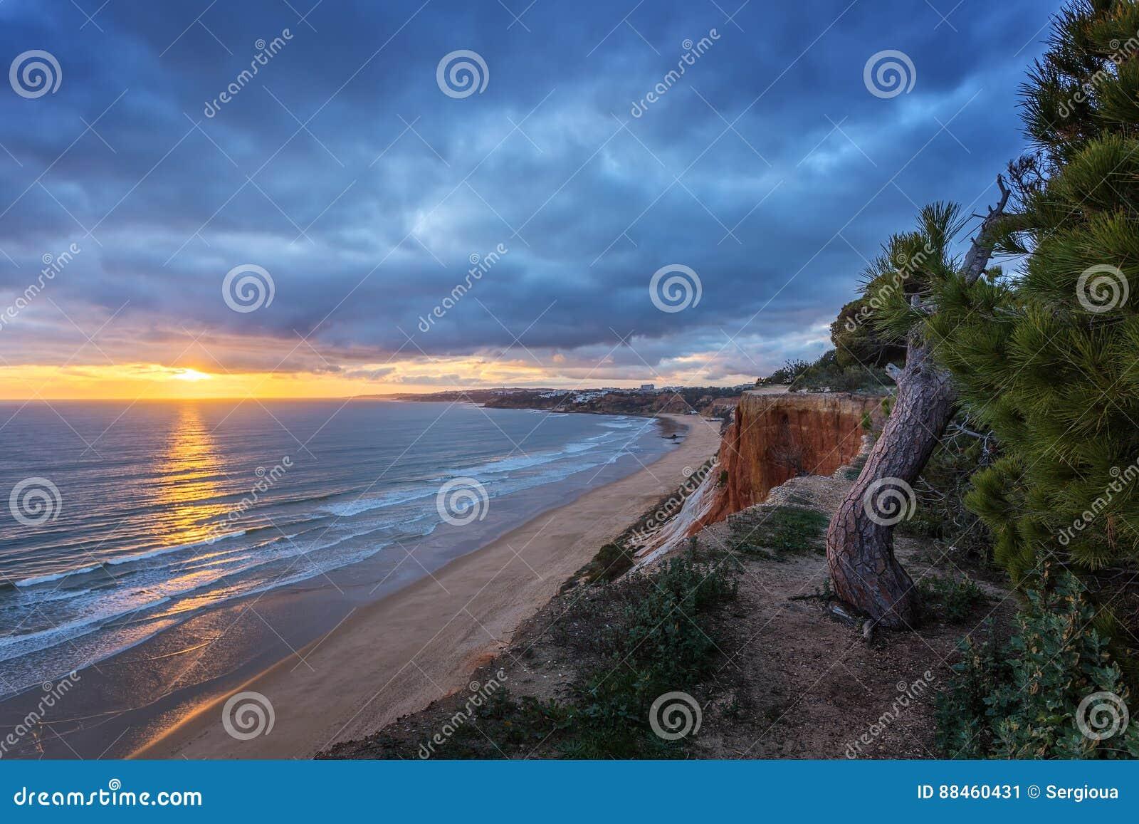 Amazing sea landscape on the mountains of Falesia. Albufeira