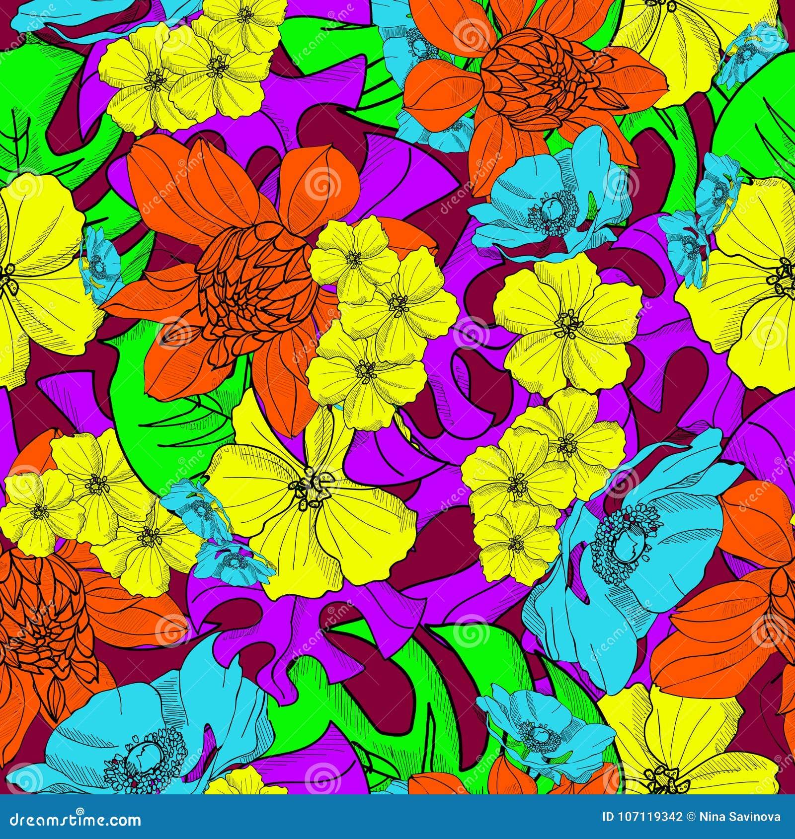 Hawaiian tropical flowers hand drawn seamless pattern vector stock hawaiian tropical flowers hand drawn seamless pattern vector izmirmasajfo