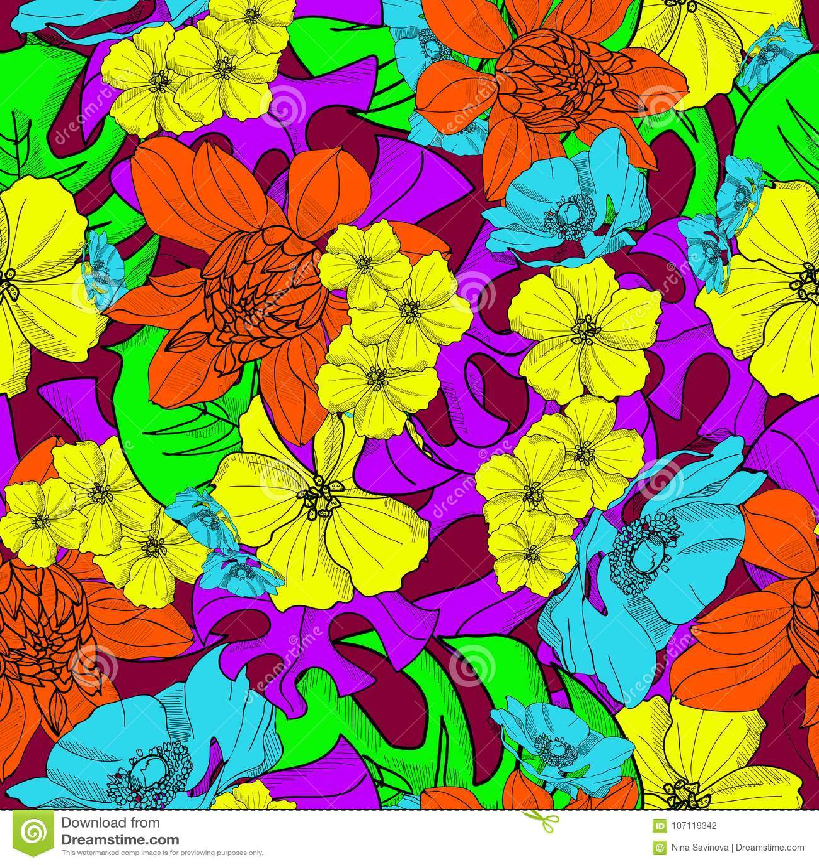 Hawaiian Tropical Flowers Hand Drawn Seamless Pattern Vector Stock