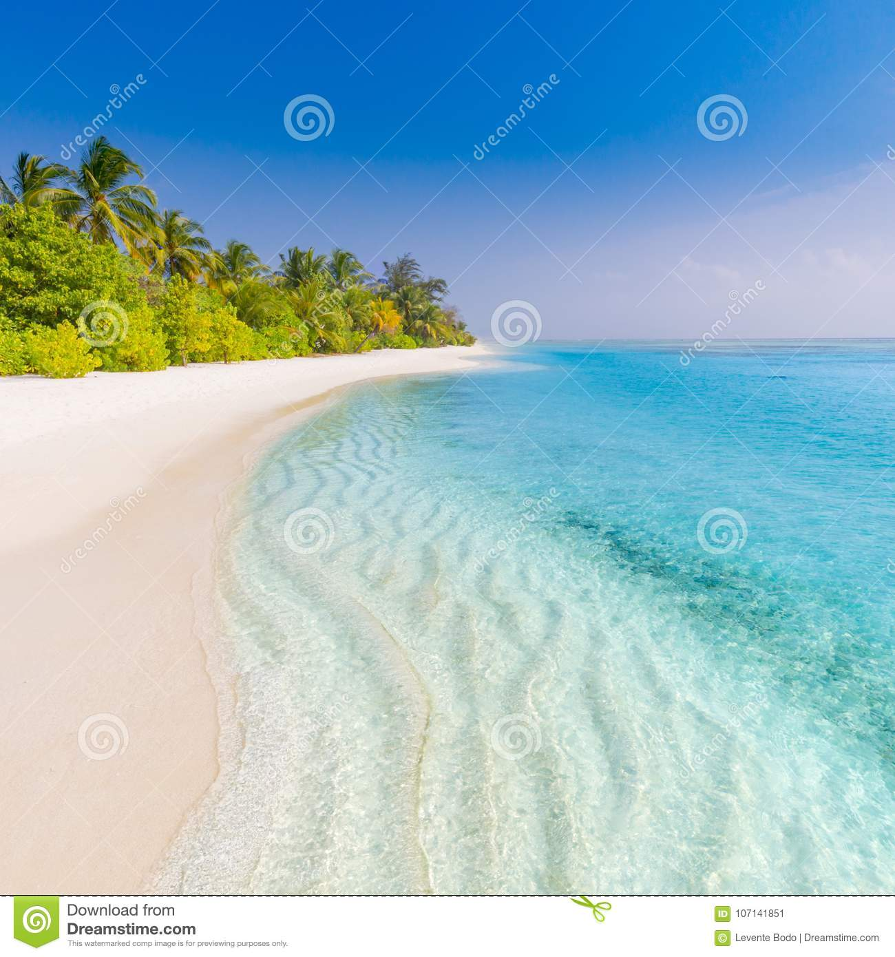 Sand Beach In Summer Sky Background: Summer Beach Banner Background. Soft Sand And Endless Sea
