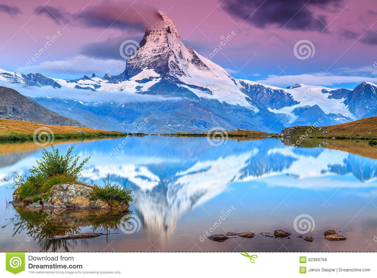 Amazing sunrise with Matterhorn peak and Stellisee lake,Valais,Switzerland