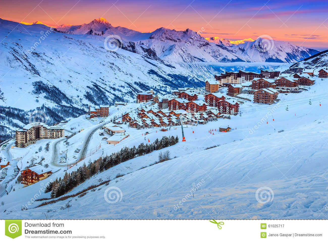 amazing sunrise and ski resort in the french alps,europe stock image