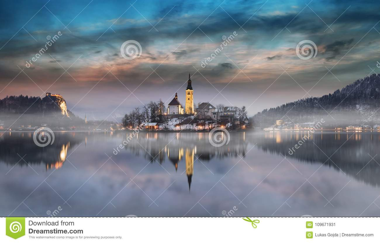 Amazing Sunset At The Lake Bled In Winter Slovenia Stock