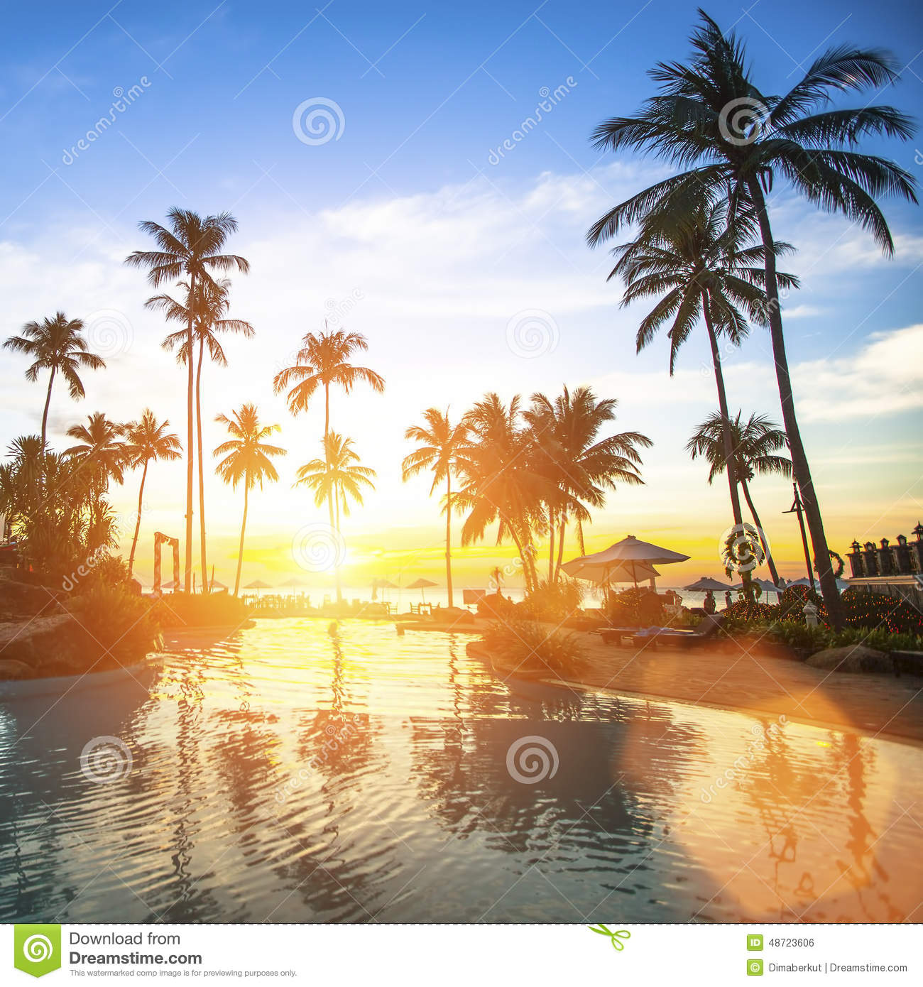 Amazing Sunset On The Tropical Ocean Beach. Travel. Stock