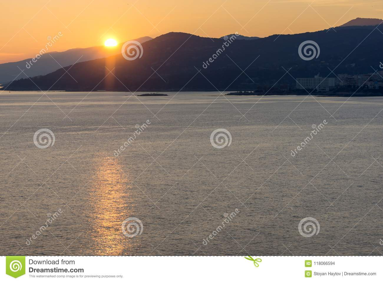 Amazing Sunset View Of Kavala East Macedonia And Thrace