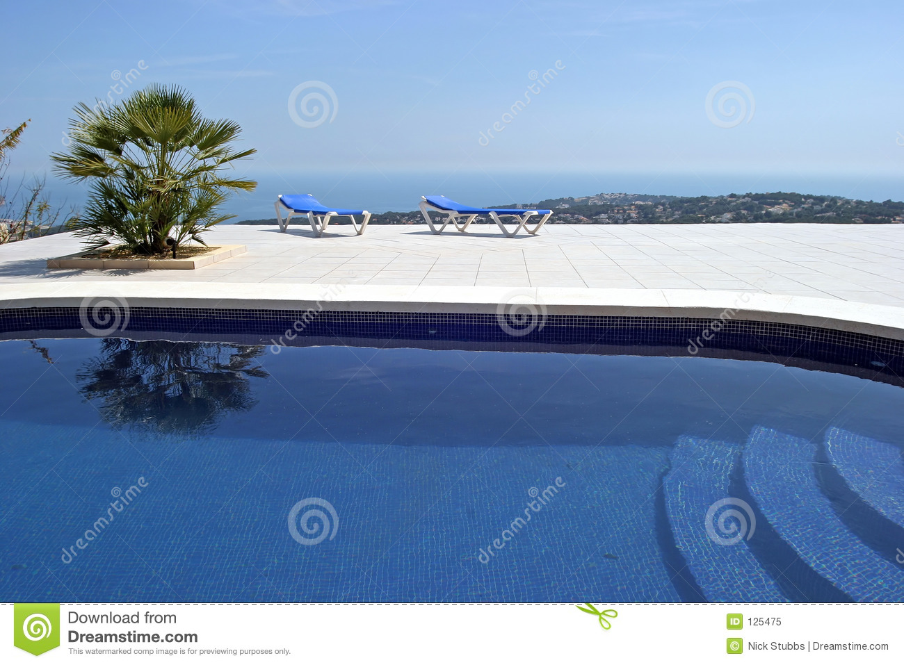 Amazing Swimming Pool In Spanish Villa With Incredible Views To The Town And Sea Below Royalty