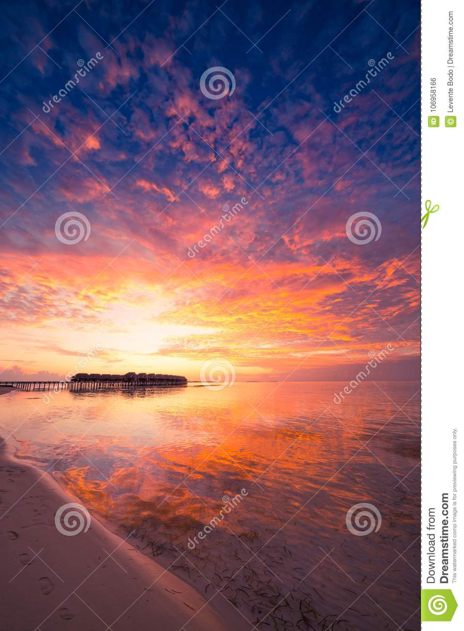 Download Amazing Tropical Beach Sunrise Or Sunset Landscape Luxury Water Villas And Mirror Reflection