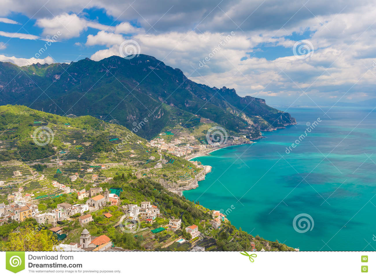 Amazing view of Amalfi coast and town of Maiori from Ravello village, Campania region, South of Italy