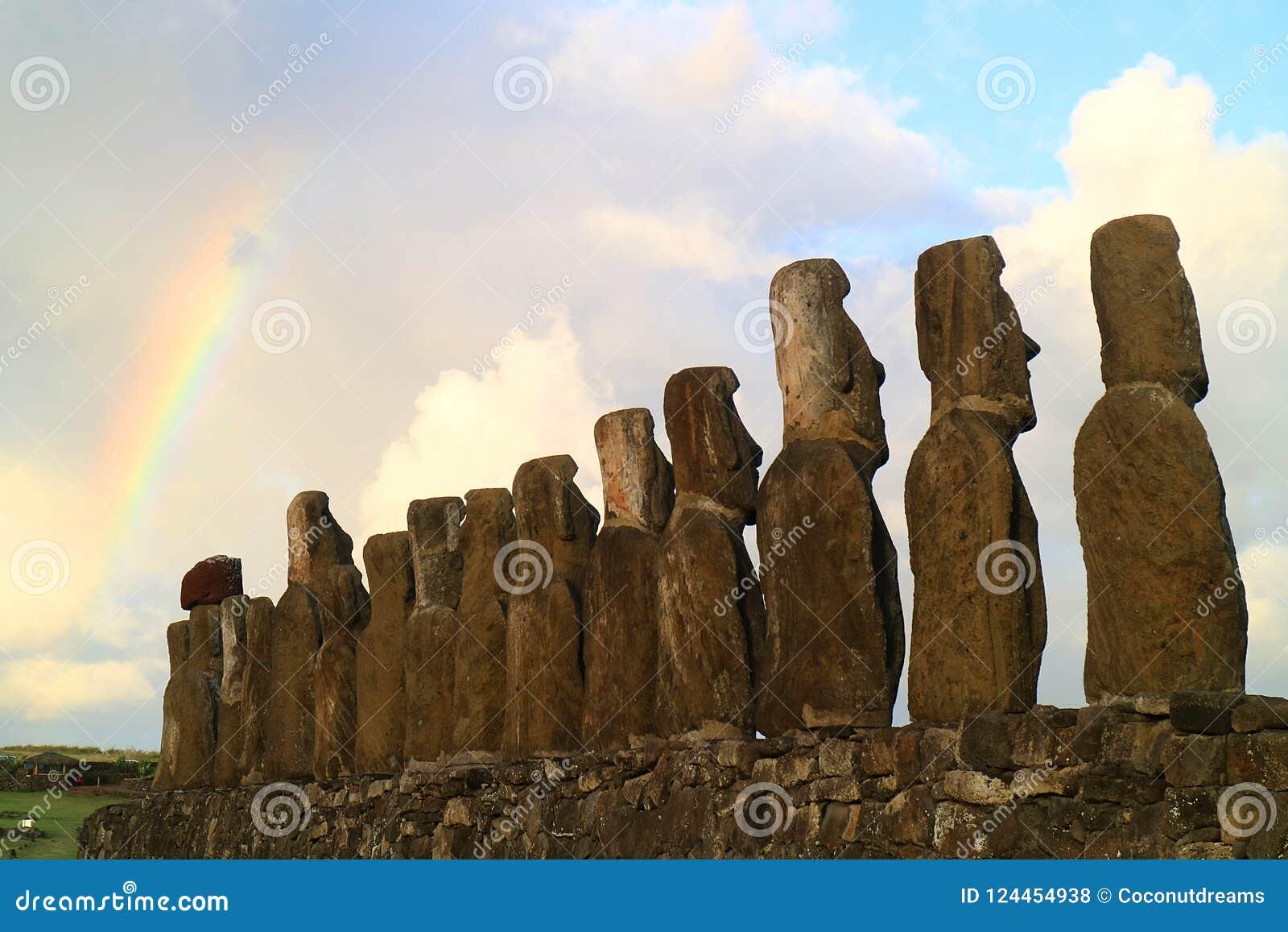 Monolithic Moai Statue At Ahu Tongariki, Easter Island, Ch
