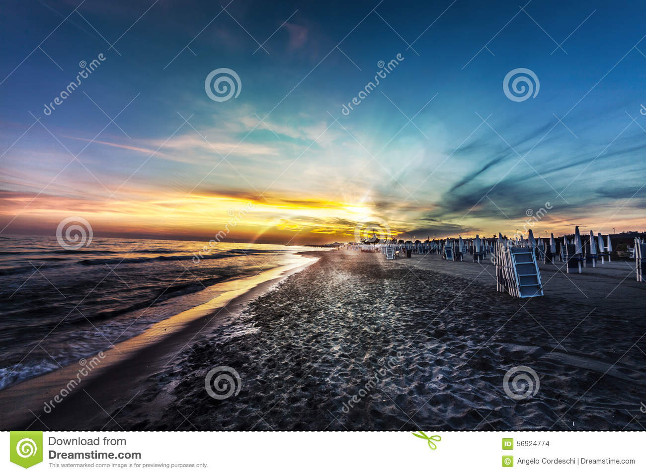 Amazing view beach and sea, blue sky at sunset