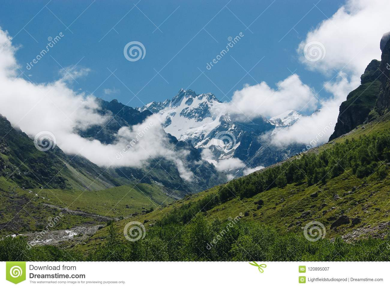 amazing view of mountains landscape with snow, Russian Federation, Caucasus,
