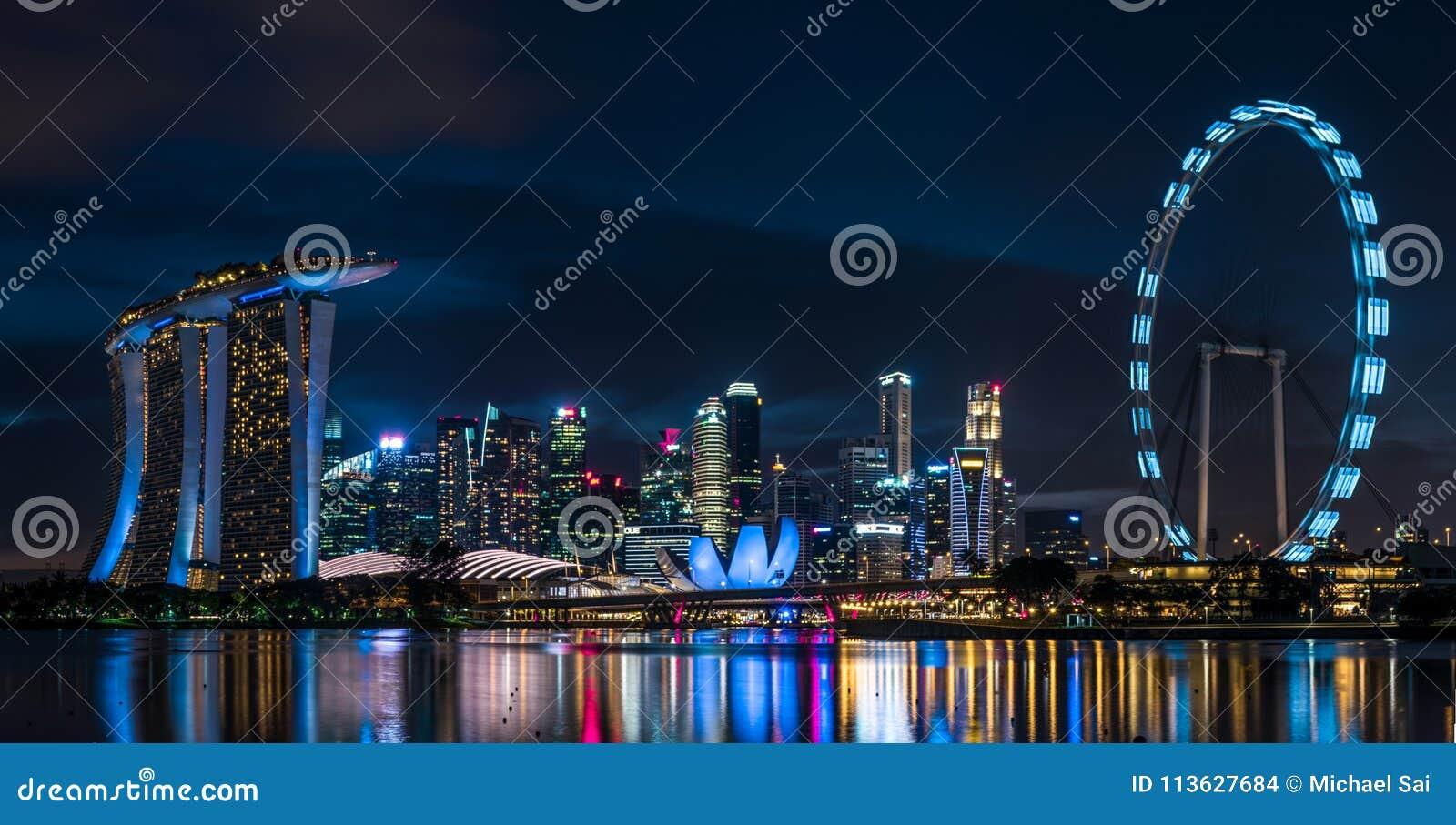 Singapore Marina Bay Sand Night Scene Stock Photo Image Of