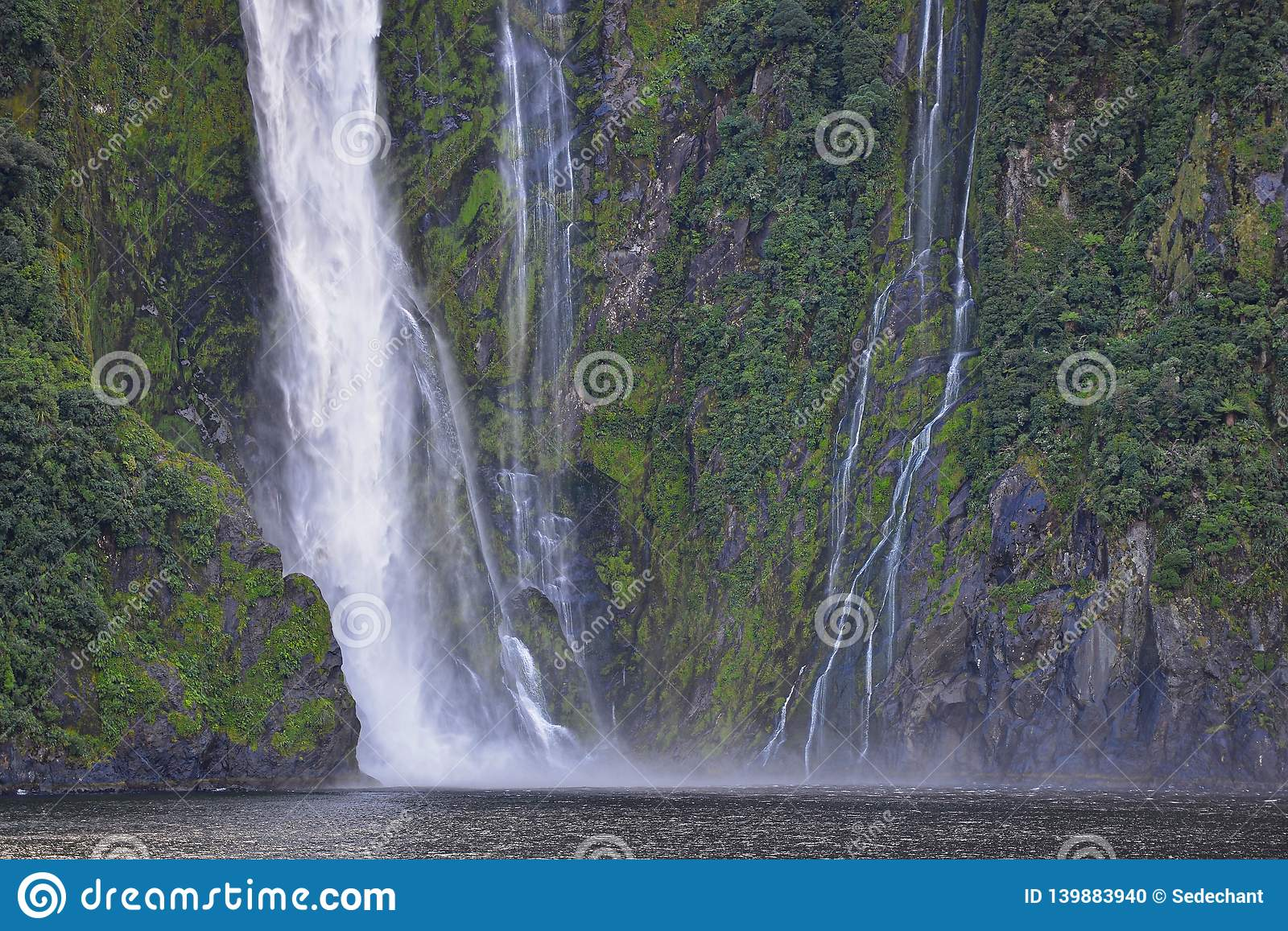 Amazing Waterfall In Milford Sound Stock Photo Image Of