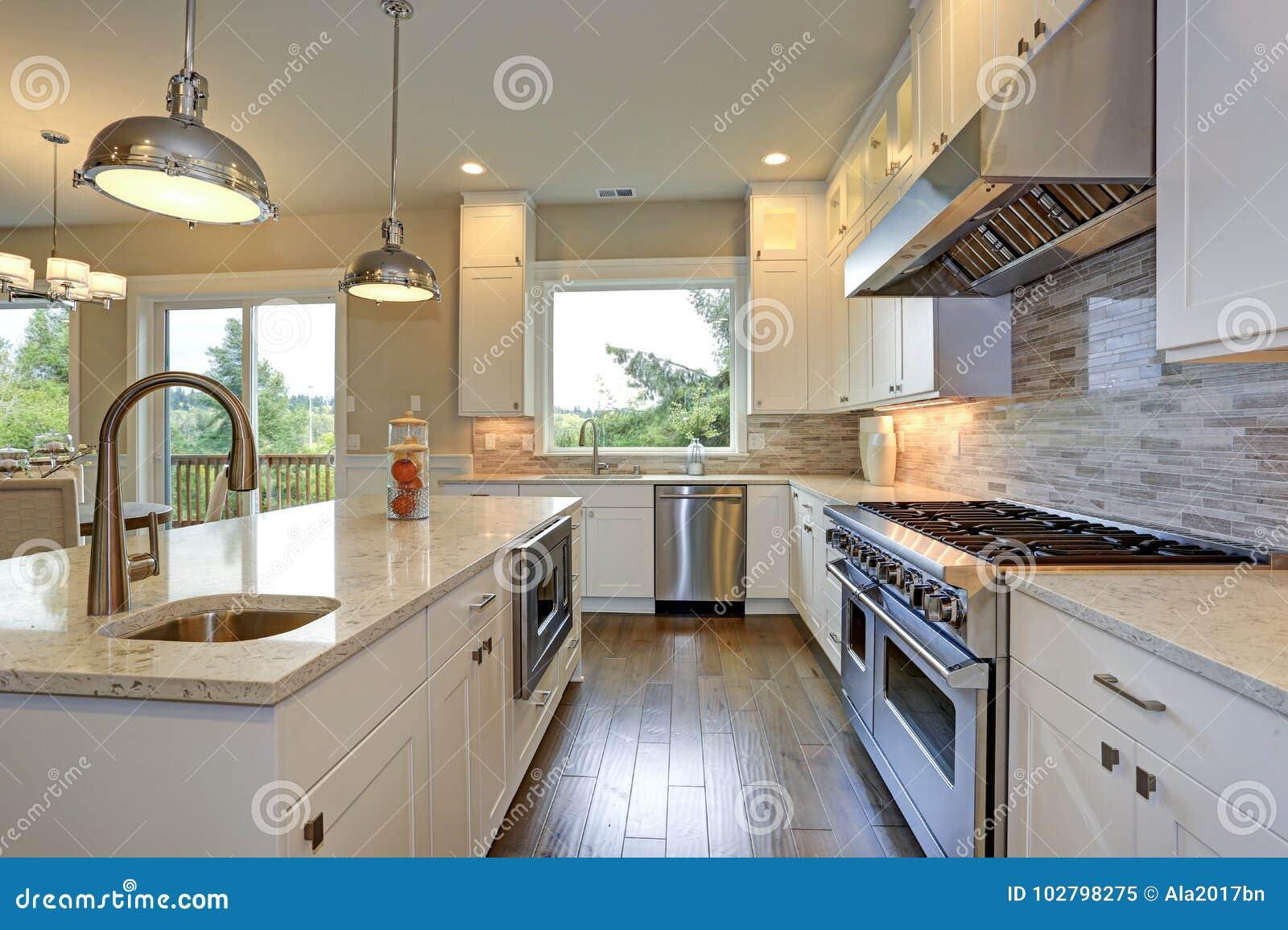 Luxury White Kitchen With Large Kitchen Island. Stock Image ...