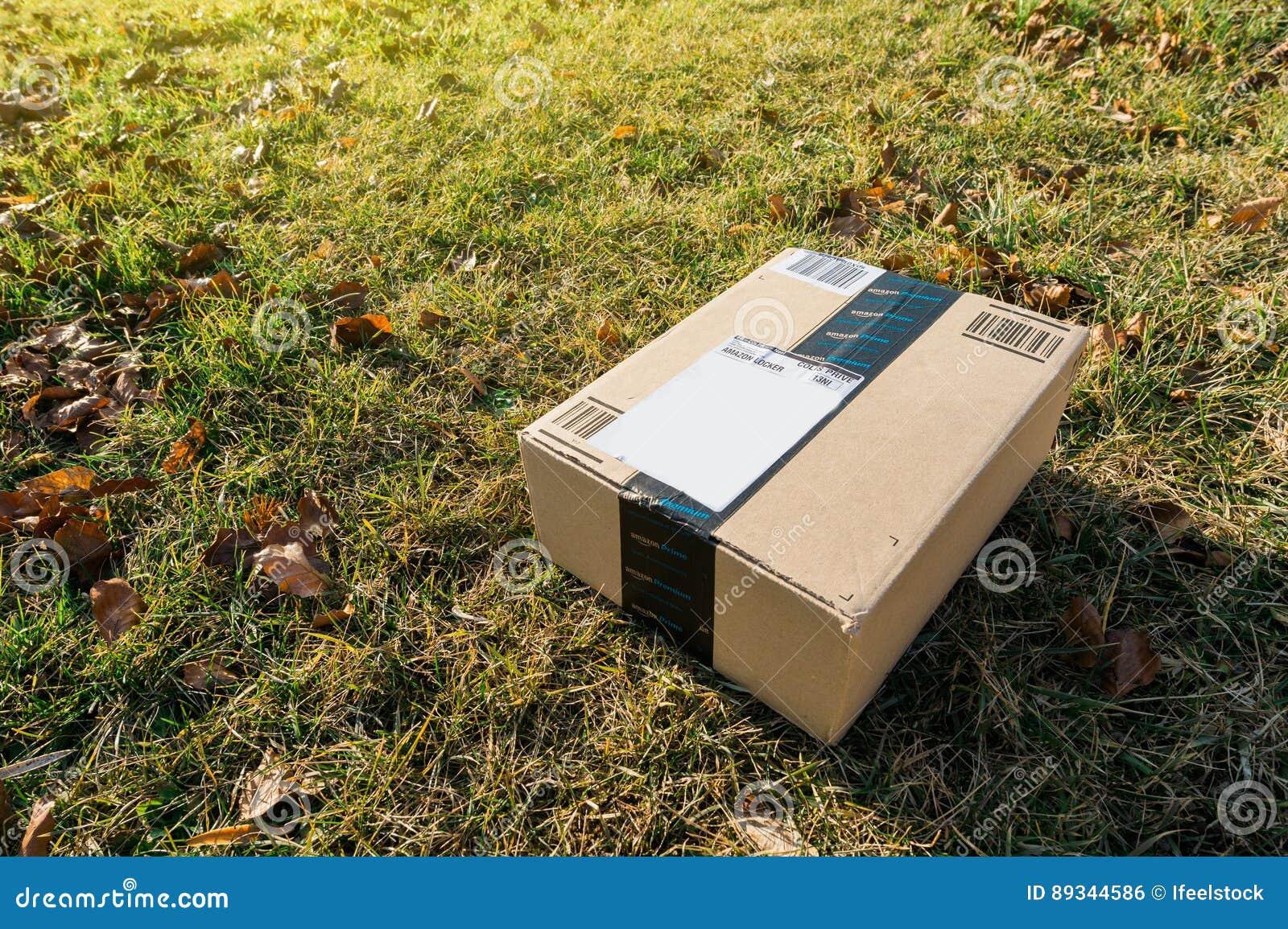 Amazon box in garden grass editorial photo. Image of home - 89344586