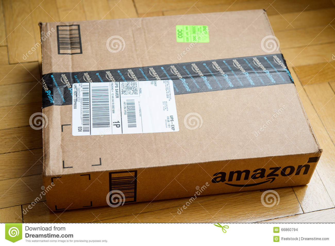 amazon box on wooden floor editorial stock image image 66860794. Black Bedroom Furniture Sets. Home Design Ideas