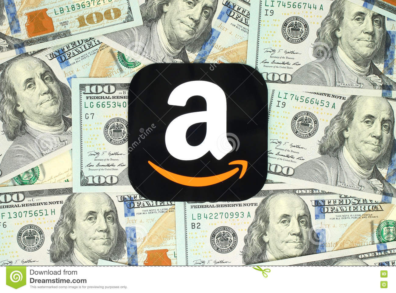 Amazon icon printed on paper and placed on money background