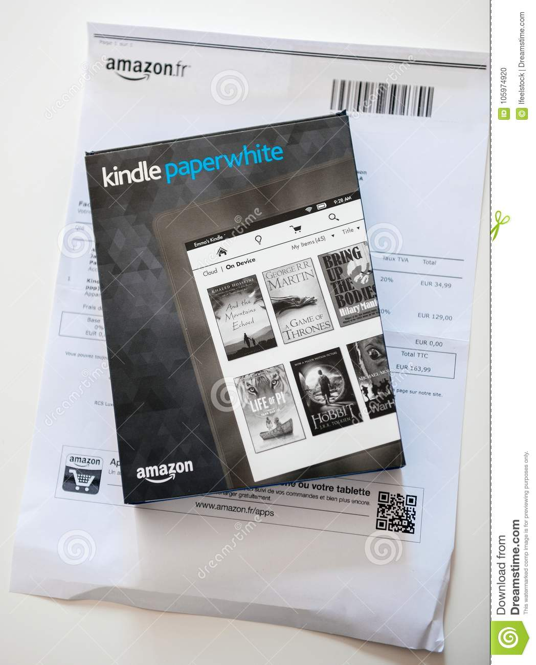 Amazon Kindle Paperwhite And Leather Protection Cover On The