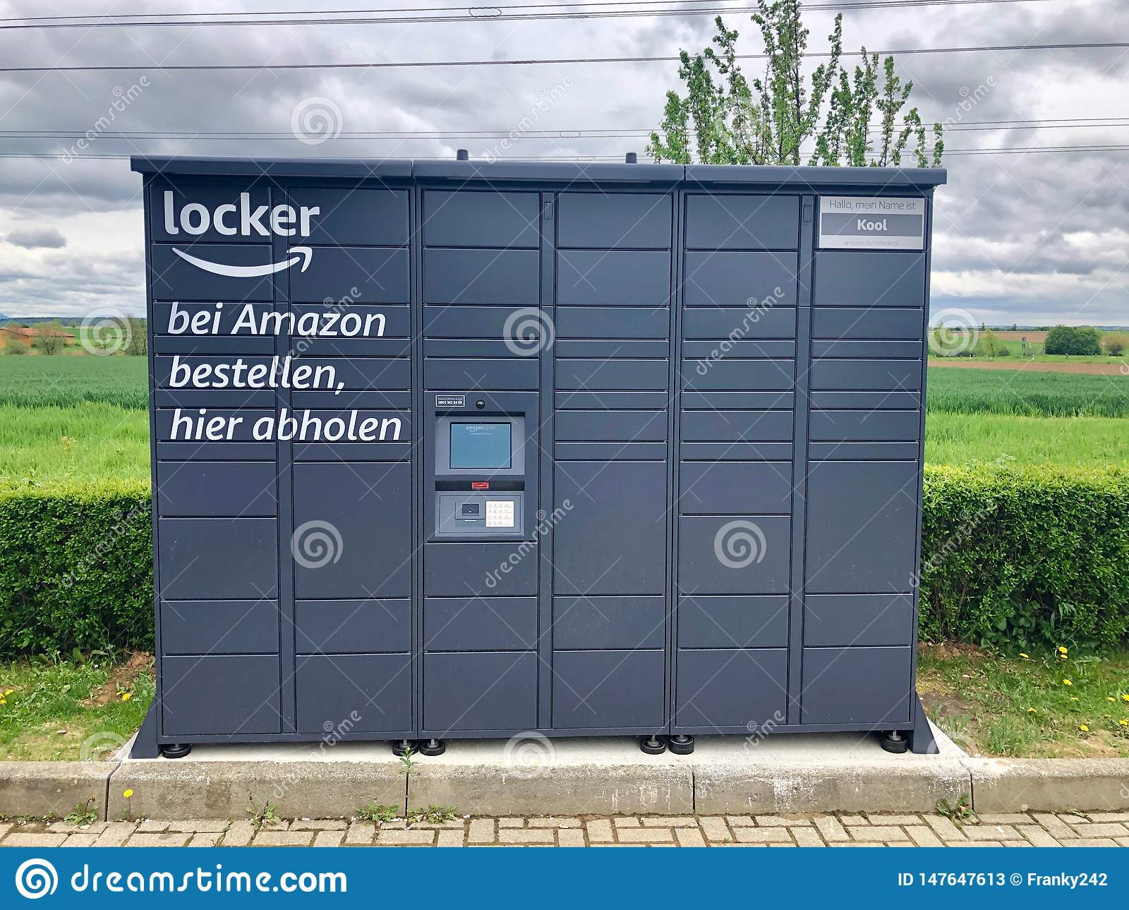 Amazon locker located at a petrol station in Ostfildern, Germany