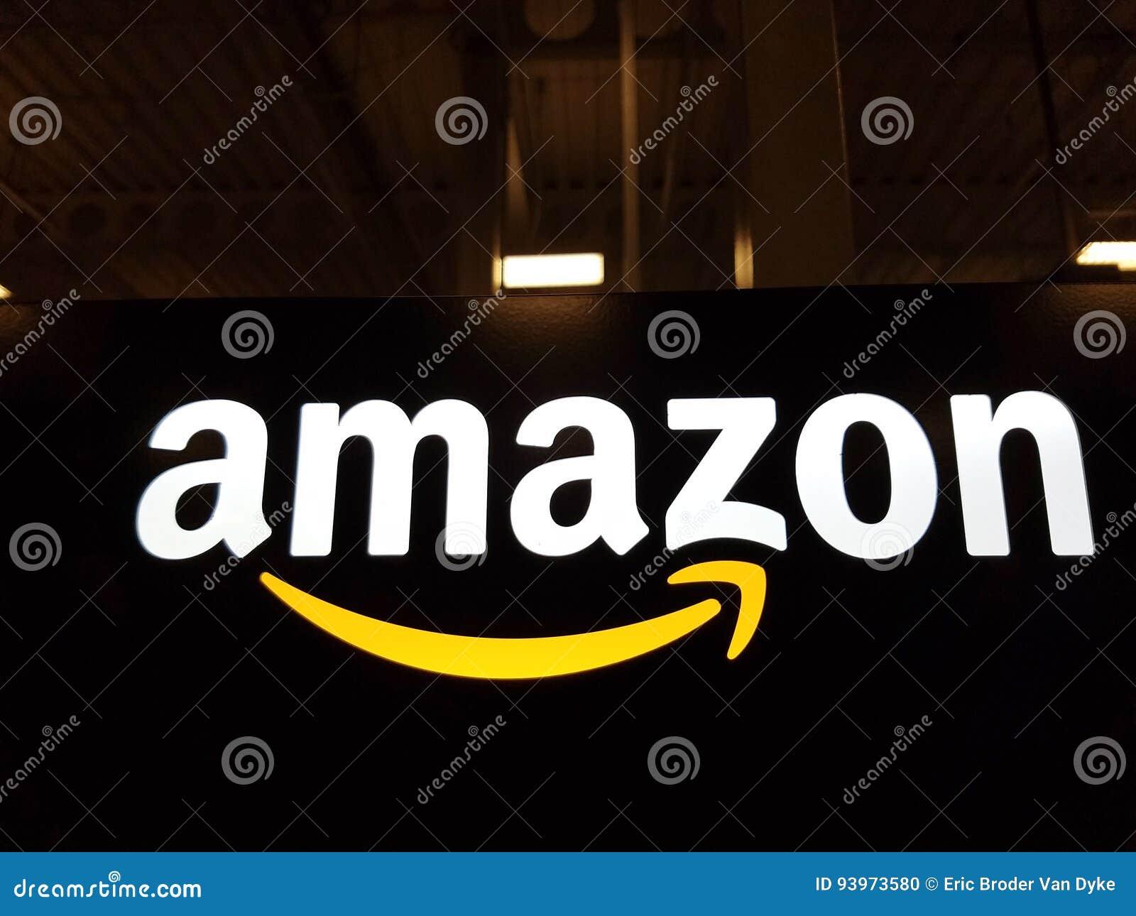 Amazon logo on black shiny wall in Honolulu