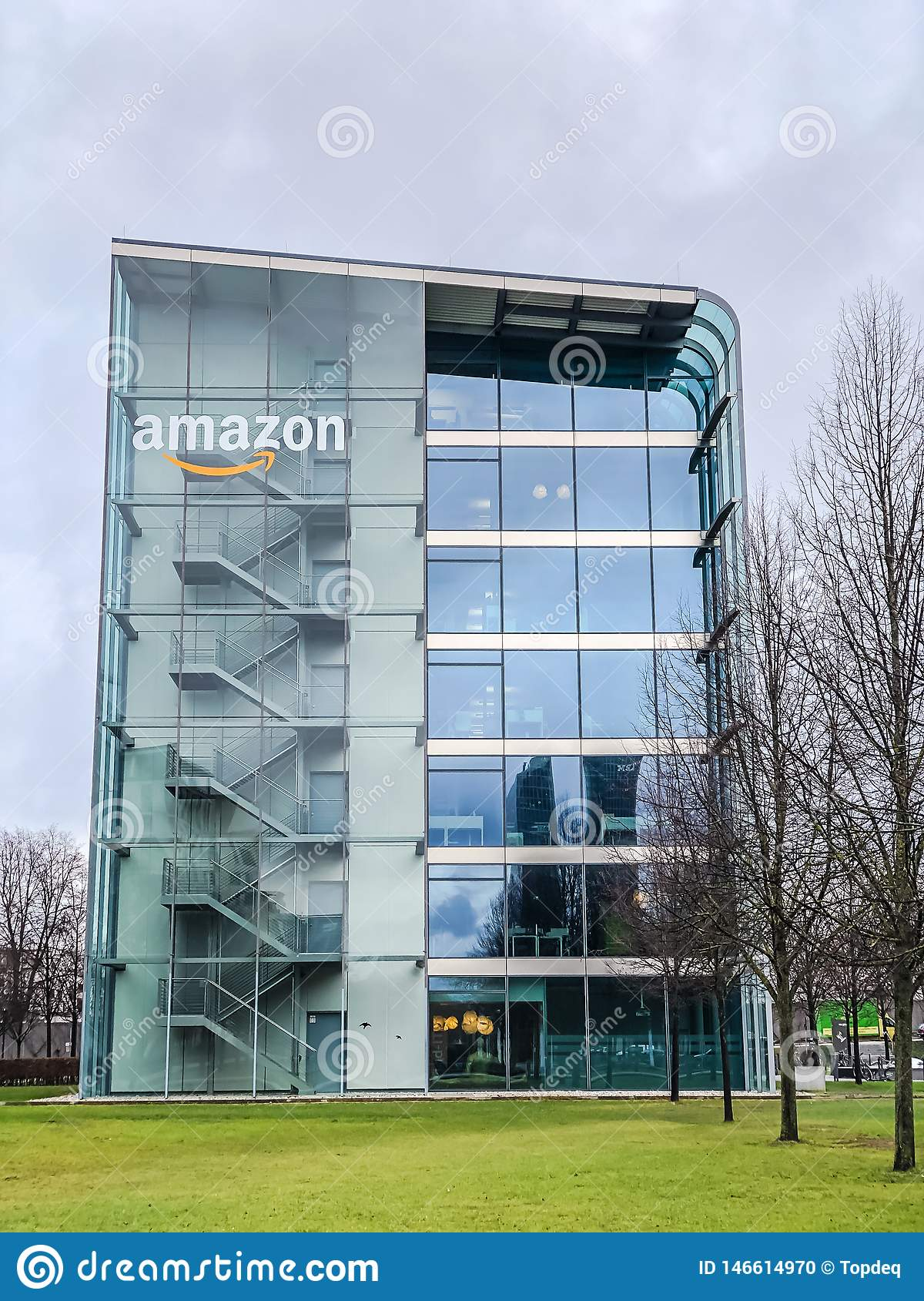 Amazon logo at office building, Munich Germany