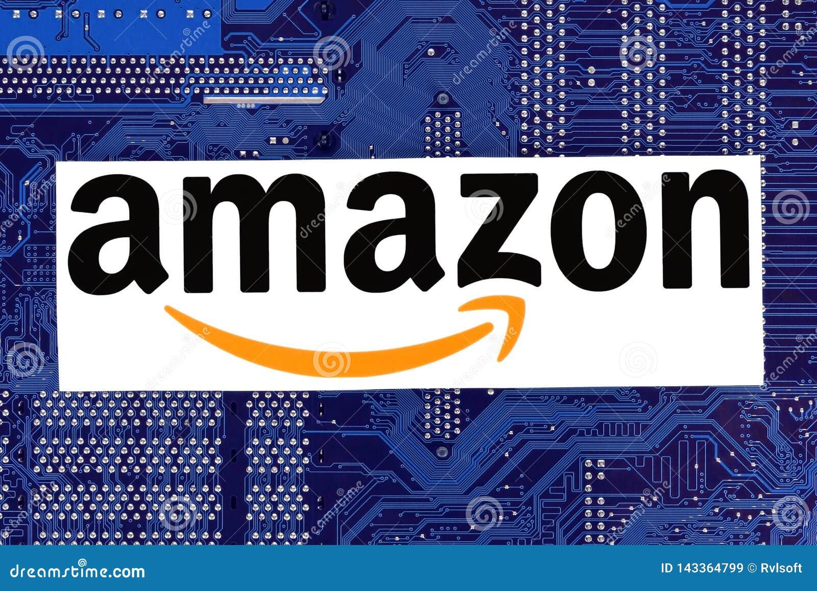 Amazon logo placed on circuit board